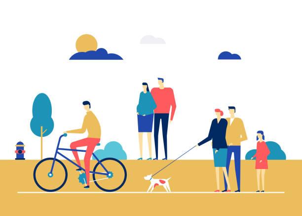 illustrazioni stock, clip art, cartoni animati e icone di tendenza di city life - flat design style colorful illustration - city walking background