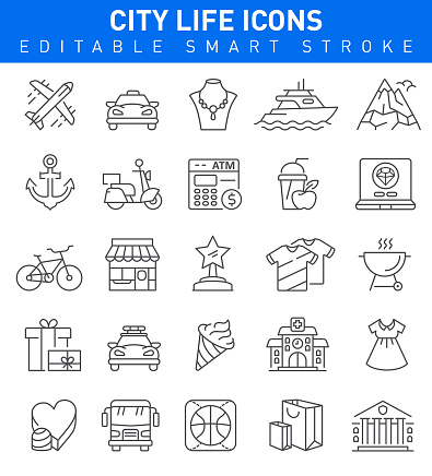 City Life Icons. Editable stroke Collection