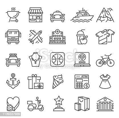 City Life Icons. Single Line Collection