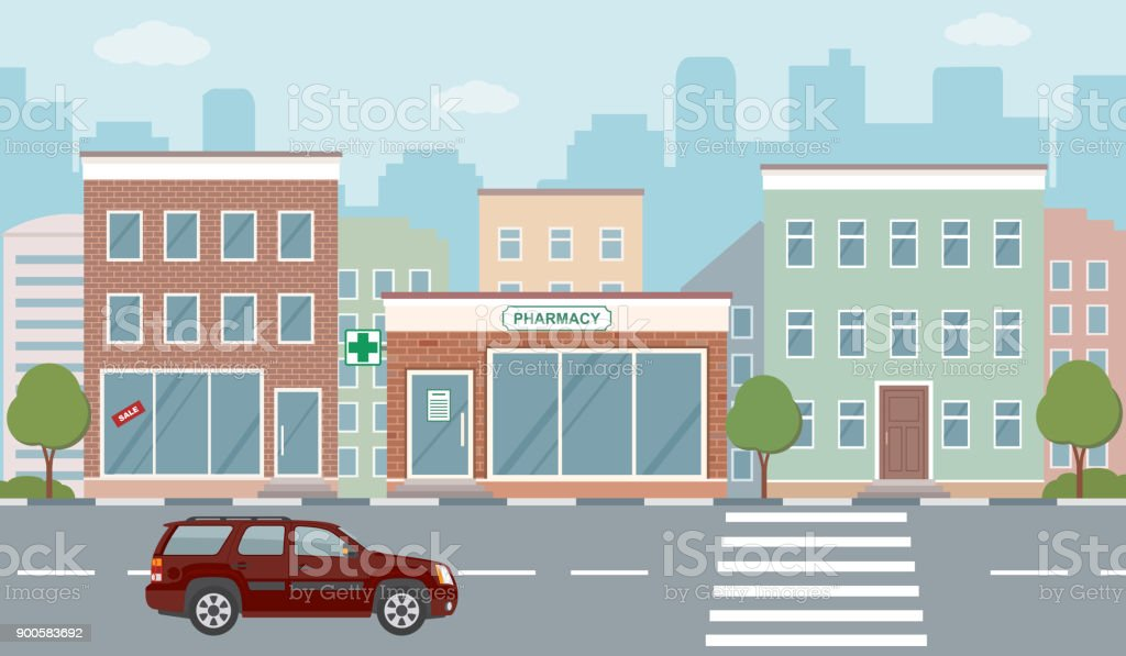 City life illustration with house facades, road and other urban details. royalty-free city life illustration with house facades road and other urban details stock illustration - download image now