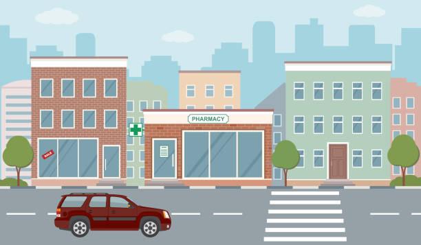 illustrations, cliparts, dessins animés et icônes de illustration de vie ville avec façades de maison, de route et d'autres détails urbains. - vitrine magasin
