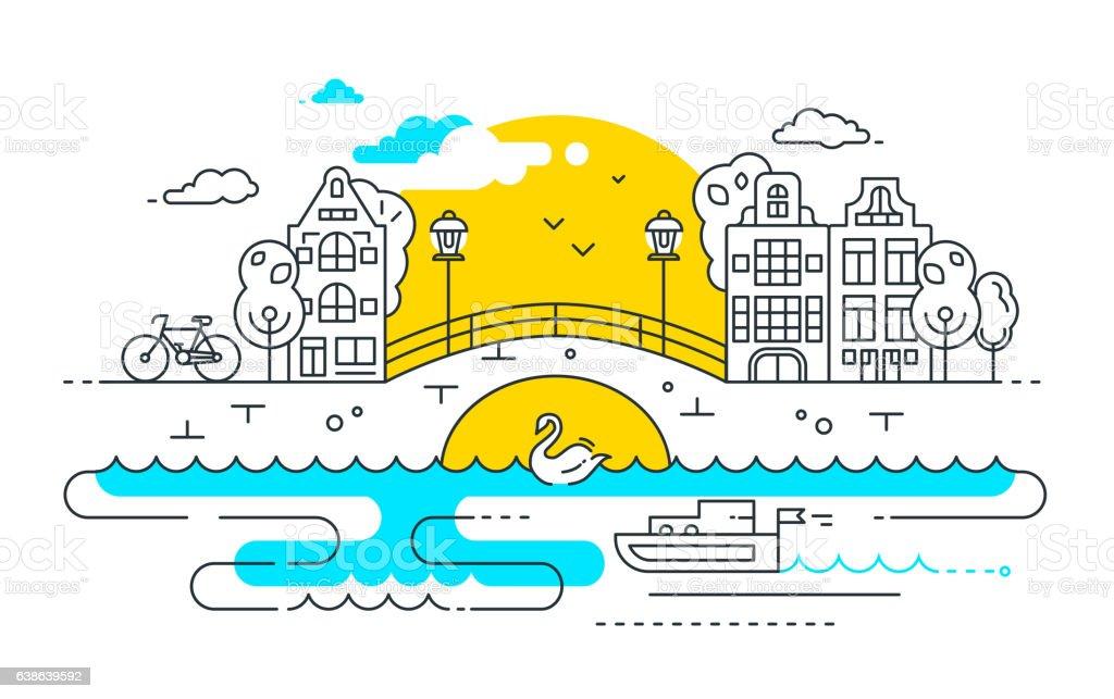 City Life - line design composition vector art illustration