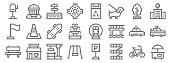 city life line icons. linear set. quality vector line set such as kiosk, stairs, swing, bench, taxi, skateboard, hospital, trash can, bank