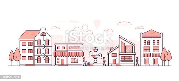 istock City life - modern thin line design style vector illustration 1035567208