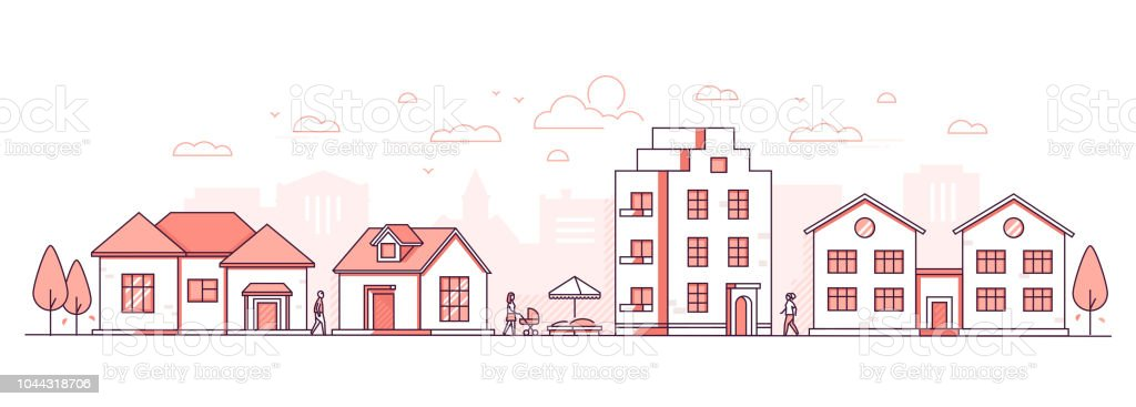 City life - modern thin line design style vector illustration vector art illustration