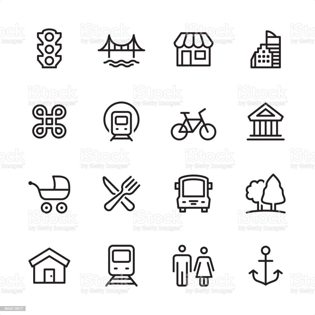 都市生活 - アウトラインのアイコンを設定 ベクターアートイラスト