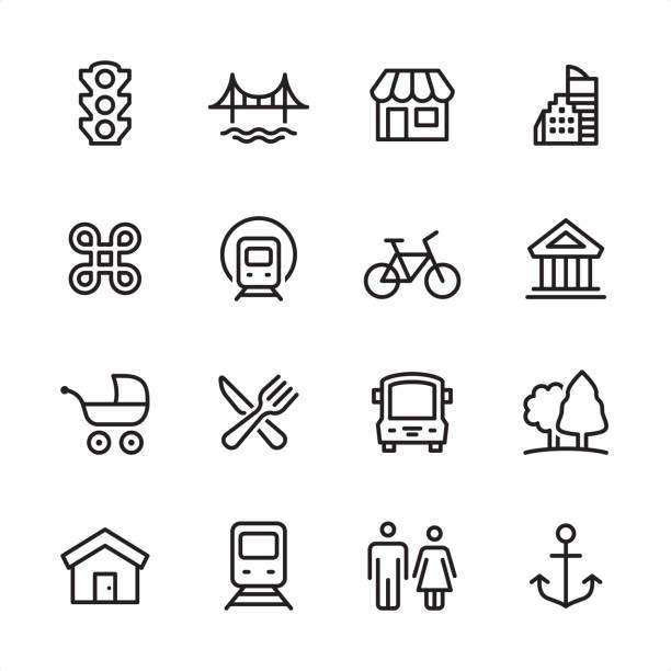 Stadsleven - overzicht pictogramserievectorkunst illustratie