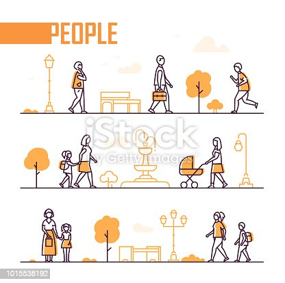 City life - set of line design style elements isolated on white background. A composition with trees, benches, fountain, lanterns and citizens running, walking with children, talking on the phone