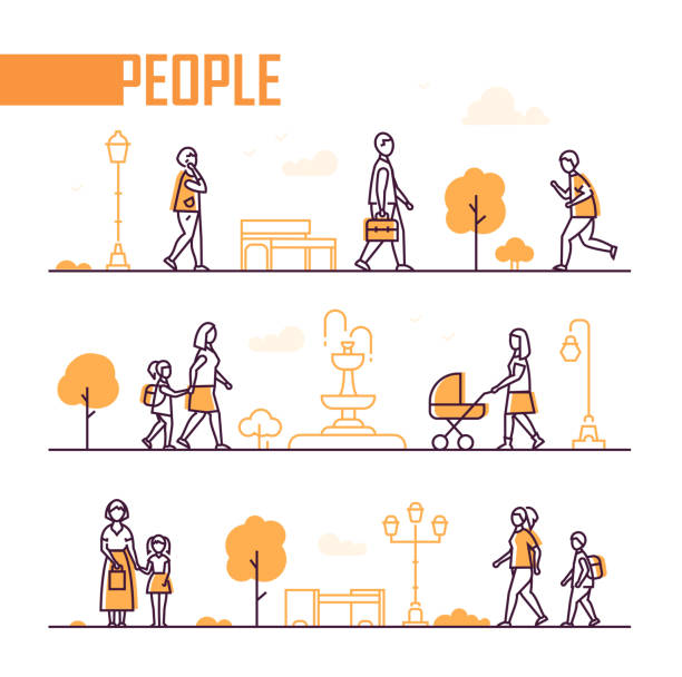illustrazioni stock, clip art, cartoni animati e icone di tendenza di city life - set of line design style elements - city walking background