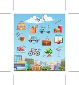 City life, set of vector icons