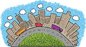 Hand drawing illustration about city life. All colors are layered separately. Easily editable about changing colors...