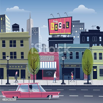 Urban scene. Commercial district on a beautiful day. Buildings and billboards with easy to replace custom signs. File with transparencies and global colors used.