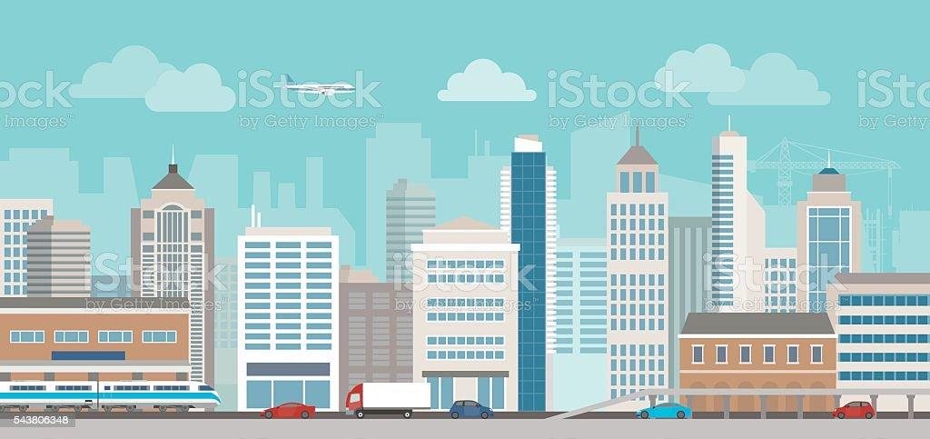 City life vector art illustration