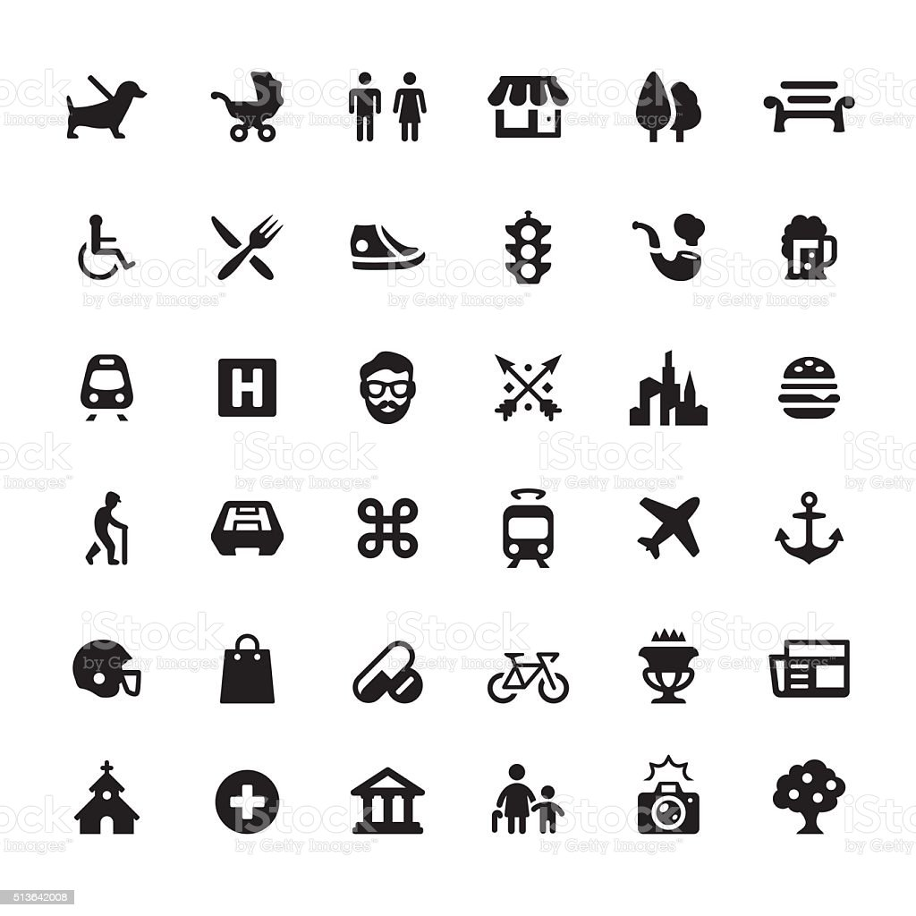 City Life vector symbols and icons vector art illustration