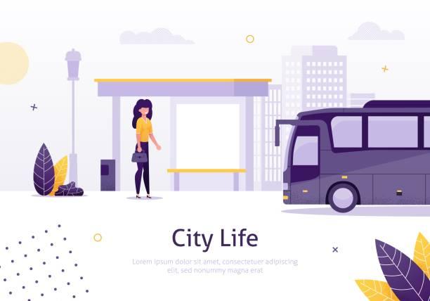City Life with Girl Standing in Bus Stop Banner. – Vektorgrafik