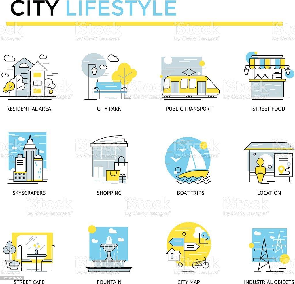 City lifestyle concept icons. city lifestyle concept icons – cliparts vectoriels et plus d'images de affaires finance et industrie libre de droits