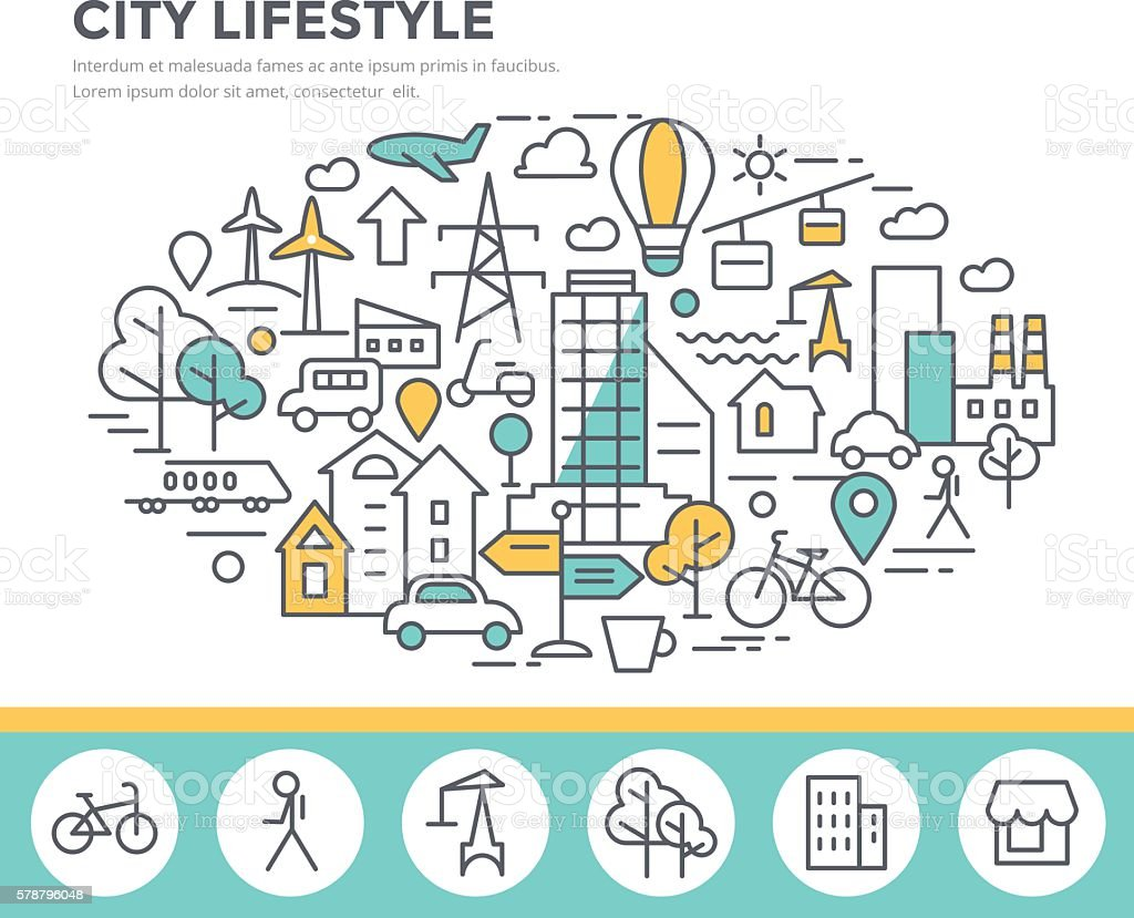 City lifestyle concept illustration vector art illustration