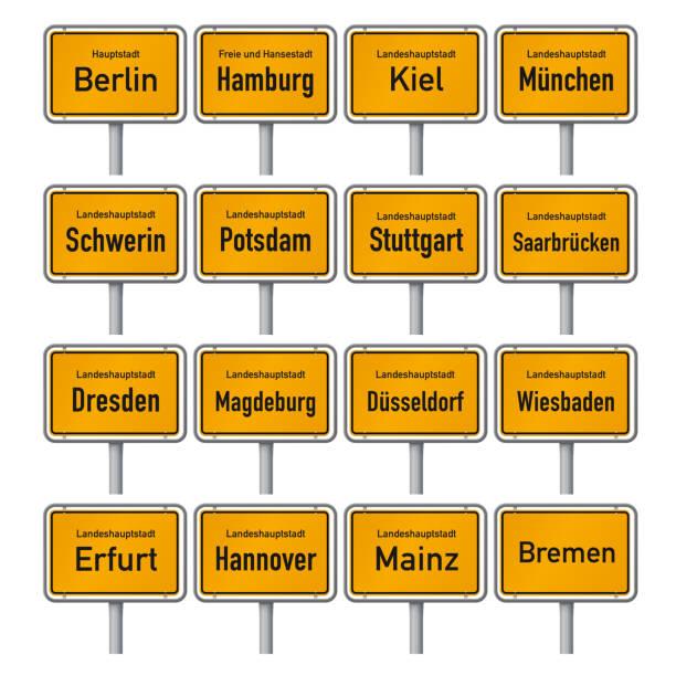 city limit schildert die deutschen landeshauptstädte - hannover stock-grafiken, -clipart, -cartoons und -symbole