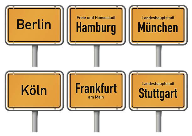 bildbanksillustrationer, clip art samt tecknat material och ikoner med city limits signs of major german cities, part 1 - berlin city