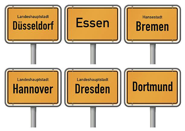 city limits zeichen des großen deutschen städten, teil 2 - hannover stock-grafiken, -clipart, -cartoons und -symbole