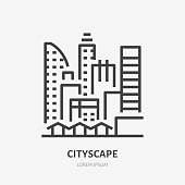 City line flat linear icon. Vector sign of urban cityscape, downtown buildings, skyscrapers outline logo.