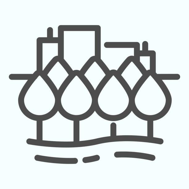 ilustrações de stock, clip art, desenhos animados e ícones de city line icon. town buildings vector illustration isolated on white. urban architecture outline style design, designed for web and app. eps 10. - isolated house, exterior
