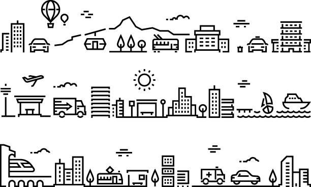 市内線の風景。事務所建物都市住宅公共環境パーク超高層ビル郊外モール。通りの輸送ライン - 都市 モノクロ点のイラスト素材/クリップアート素材/マンガ素材/アイコン素材
