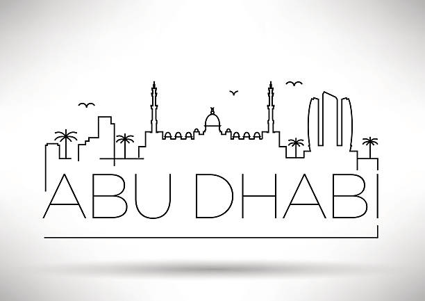 city line silhouette typographic design - abu dhabi stock illustrations