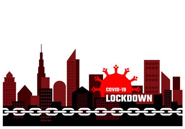 stockillustraties, clipart, cartoons en iconen met stadssluiting als gevolg van covid-19. impact van het nieuwe coronavirus. infectieziektepreventie door middel van sociale distantiëring. de coronavirus pandemie. - avondklok