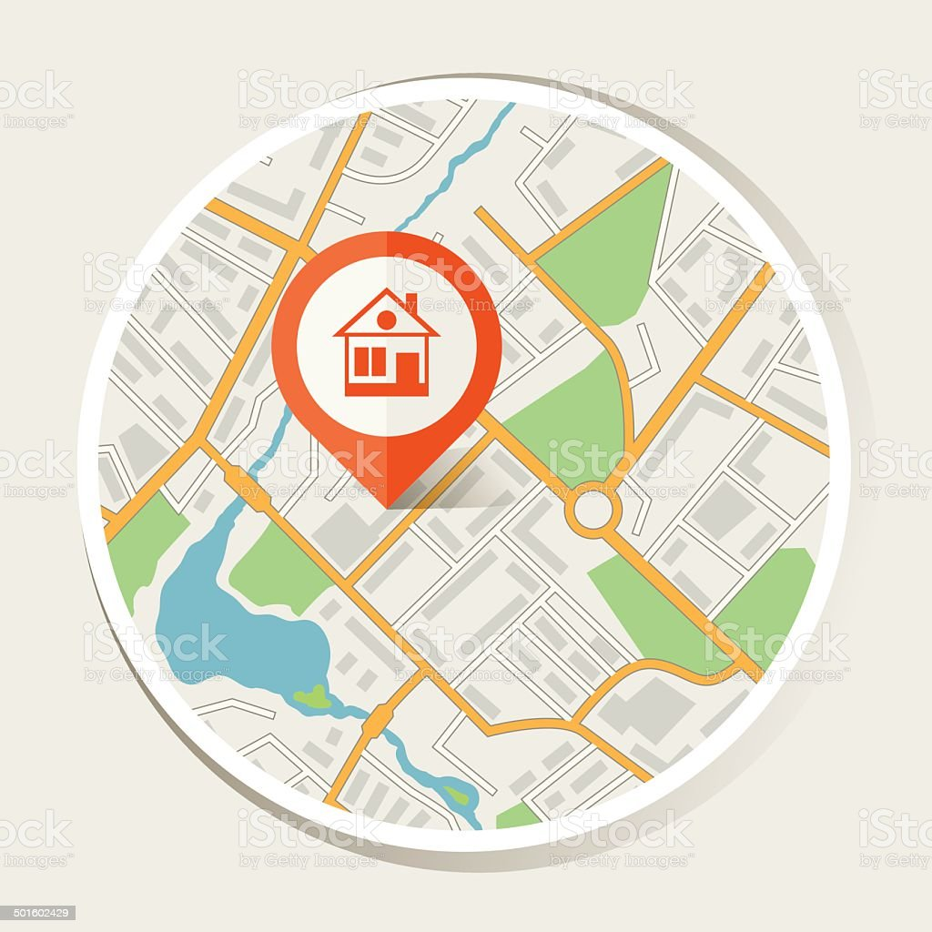 City map abstract background with marker home. vector art illustration