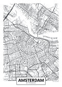 City map Amsterdam, travel vector poster design detailed plan of the city, rivers and streets