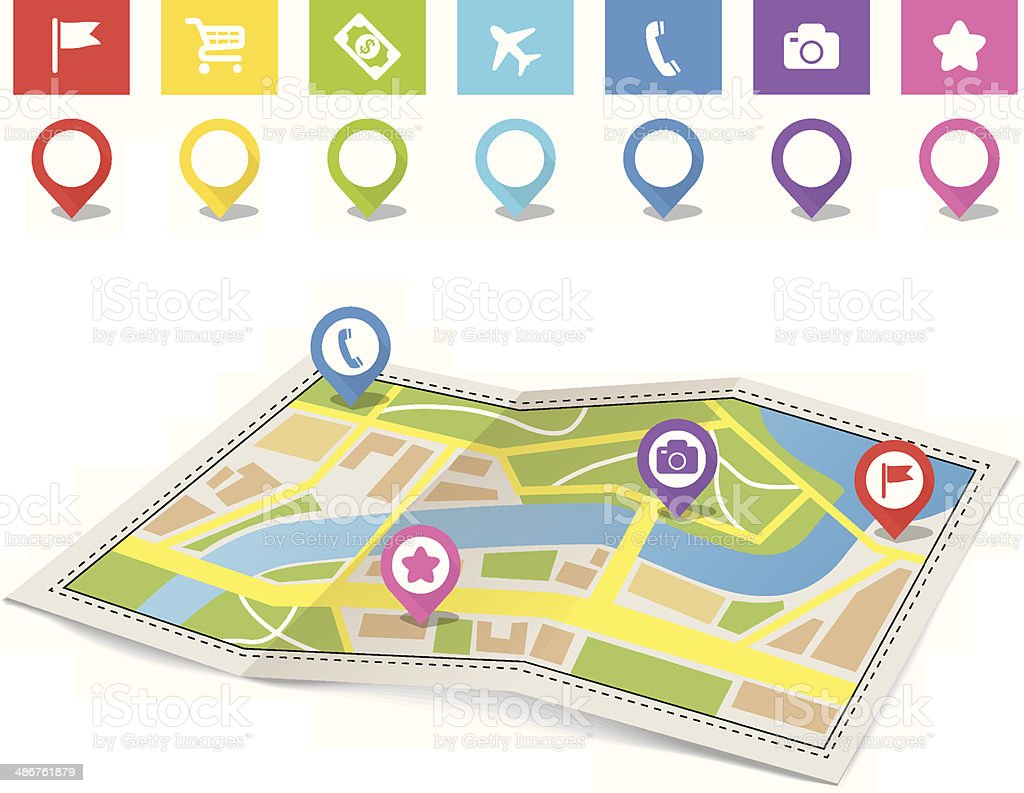 City map and pins vector art illustration