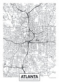 City map Atlanta, travel vector poster design detailed plan of the city, rivers and streets