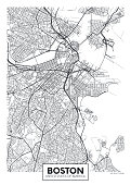 City map Boston, travel vector poster design detailed plan of the city, rivers and streets