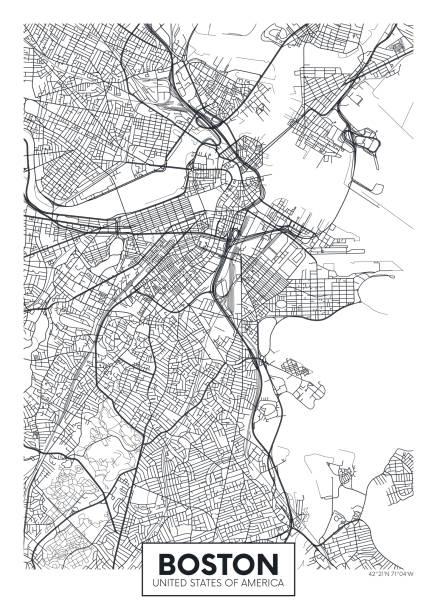 stockillustraties, clipart, cartoons en iconen met stadskaart boston, reizen vector poster design - boston massachusetts