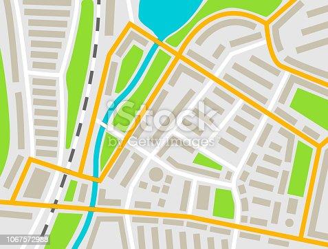 City map colored illustration for navigation program or mobile app. City layout map vector illustration.