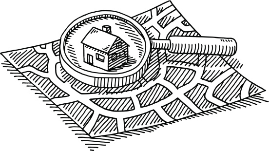 City Map Finding House Loupe Drawing