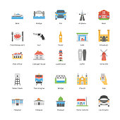 City map flat vectors pack with flat style vectors is indicating colorful visuals filled with traveling, outing, fitness, and religion icons. So if you feel free then check this pack immediately.