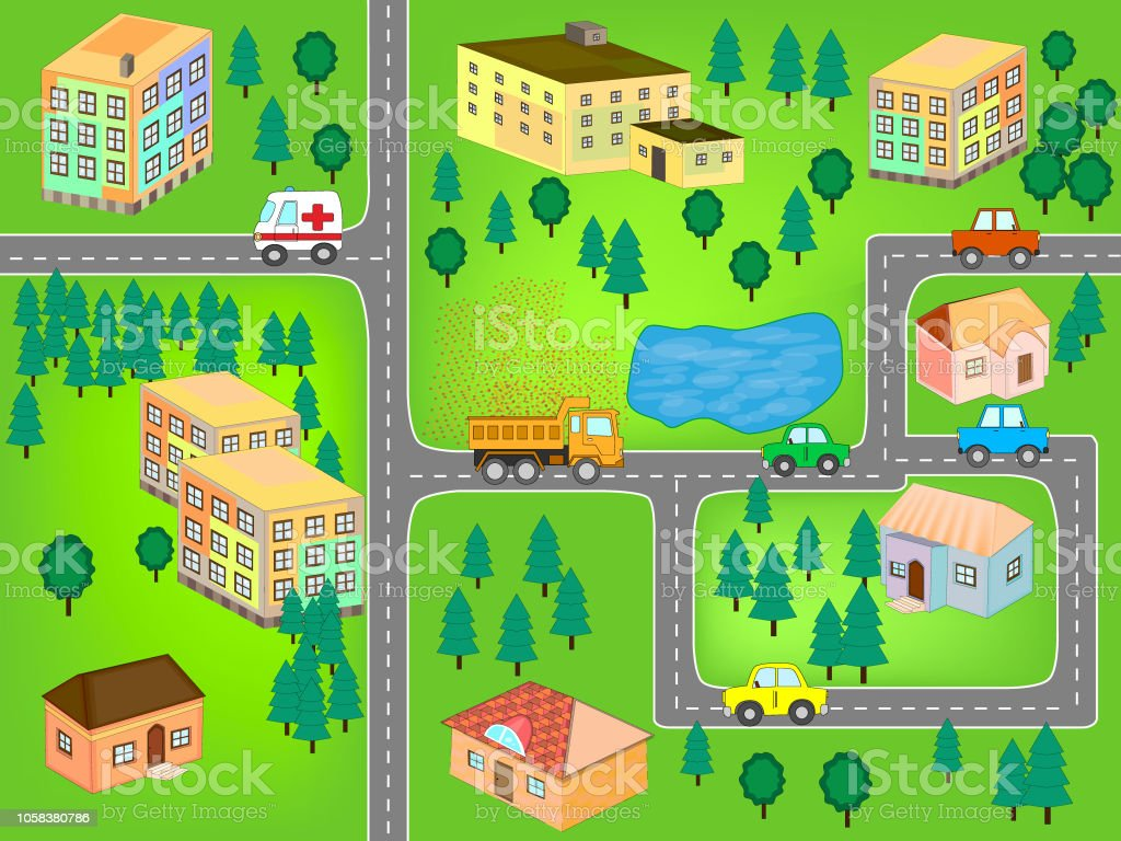 City Map For Children Play Mat Stock Illustration - Download Image ...