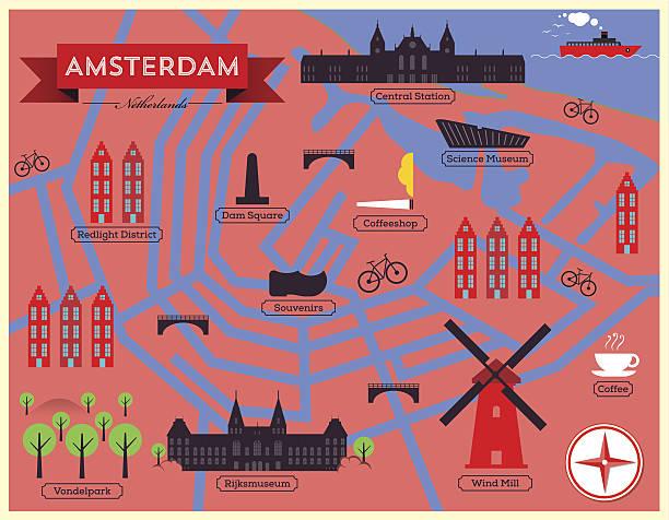 illustrations, cliparts, dessins animés et icônes de carte vectorielle de la ville d'amsterdam.  monuments et carte icônes vectorielles. - dam