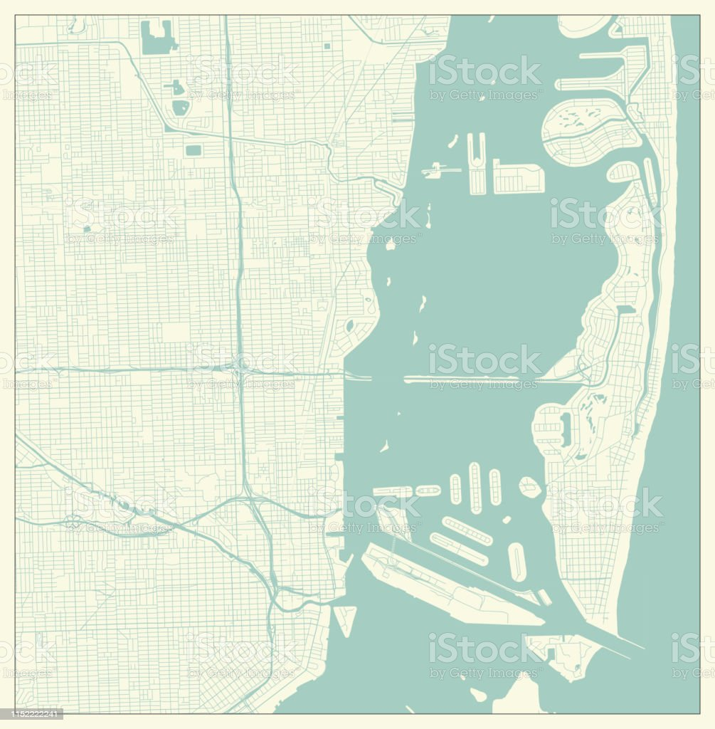 City Map in Retro Style. Outline Map of Miami, Florida, US