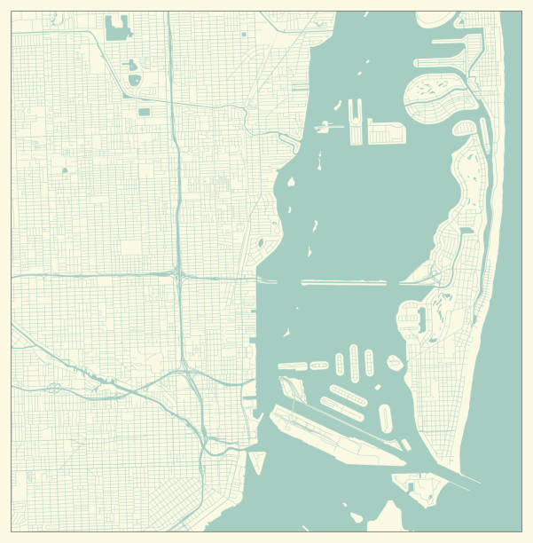 City Map in Retro Style. Outline Map of Miami, Florida, US City Map in Retro Style. Outline Map of Miami, Florida, US miami stock illustrations