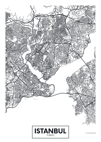 City map Istanbul, travel vector poster design