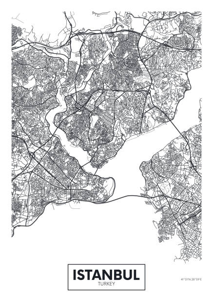 Mapa de la ciudad Estambul, diseño de cartel de vector de viaje - ilustración de arte vectorial