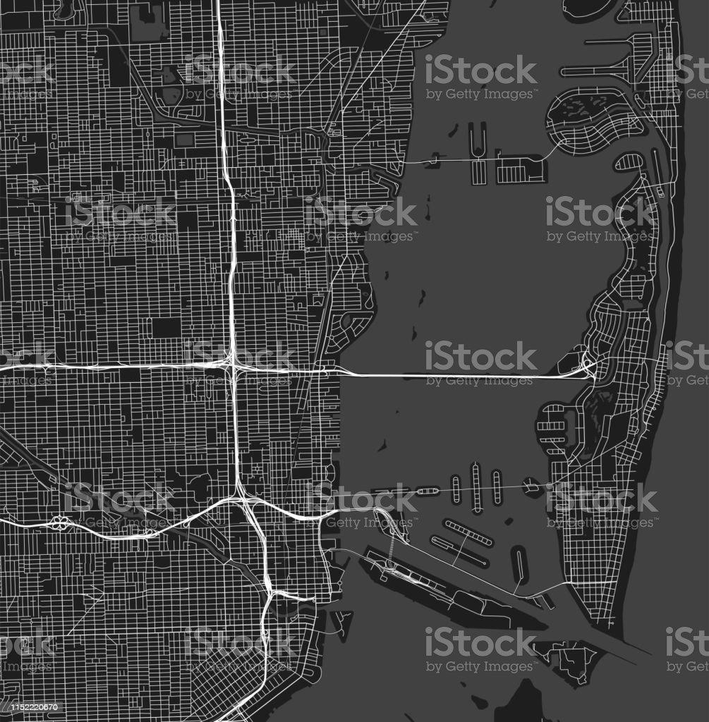 City map, Miami, Florida, US