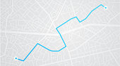 City map navigation. GPS navigator. Distance. Point marker icon. Top view, view from above. Abstract background. Cute simple design. Flat style vector illustration.