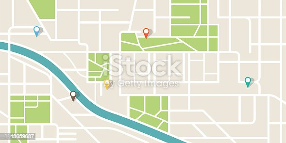 City map navigation. GPS navigator. Point marker icon. Top view, view from above. Abstract background. Cute simple design. Flat style vector illustration.