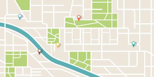 stadtplan navigation. gps-navigator. punktemarker-ikone. oberansicht, blick von oben. abstrakter hintergrund. niedliches, einfaches design. flachstil vektordarstellung. - karte navigationsinstrument stock-grafiken, -clipart, -cartoons und -symbole