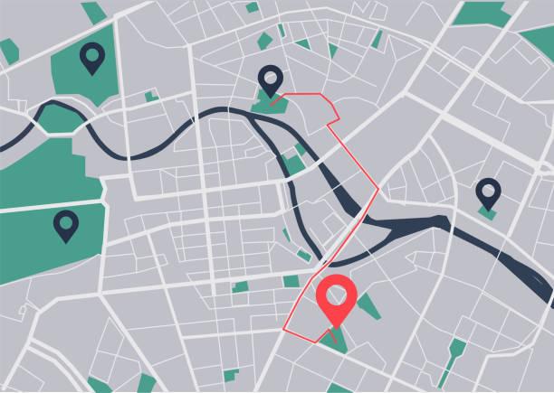 stadtplan-navigation - karte navigationsinstrument stock-grafiken, -clipart, -cartoons und -symbole