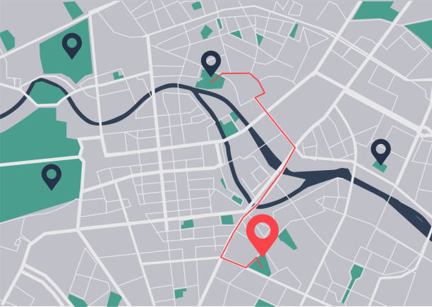 City map navigation Map, Road Map, City Map, Vector global positioning system stock illustrations